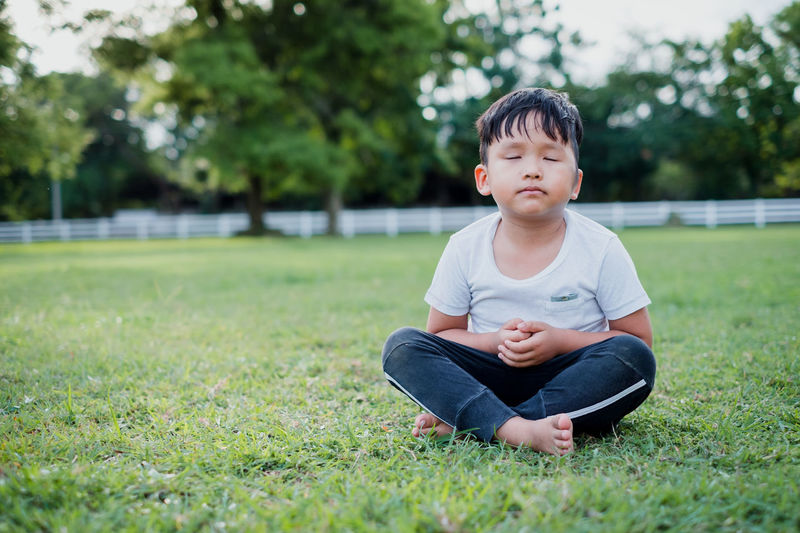 Asian little boy meditation with peace and relax in the park outdoor.Meditation concept with copy space. Zen Young Yoga White Vitality Tree Thai Temple Sunny Sunlight Summer Spirituality Sitting Relaxation Portrait People Peace Pavilion Park Outdoor Nature Morning Mindfulness Meditating Meditate Life Kid Isolated Human Healthy Harmony Grass Garden Freedom Exercise Day Contemplation Concept Concentration Church Children Chapel Buddhist Breathing Boy Background Baby Asian  ASIA