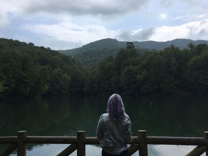 Beautiful Girl Water Lake Sky And Clouds