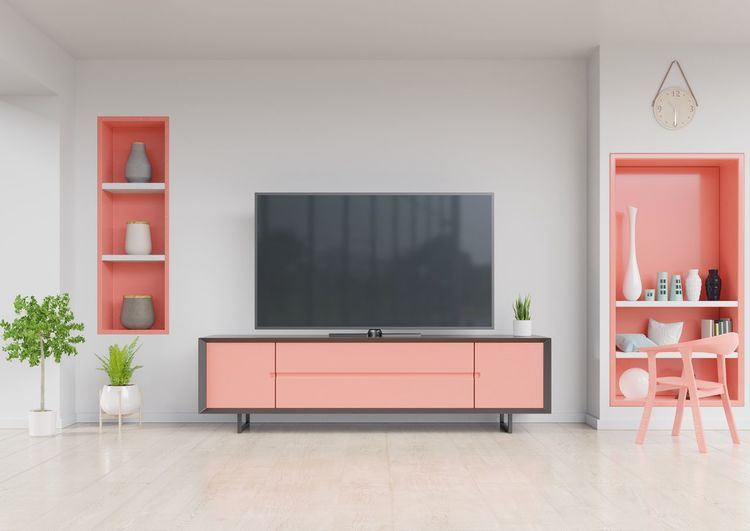 TV on cabinet in modern living room with chair,Wall shelf and plant on white wall background. living coral color of the Year 2019,3d rendering. Living Room Domestic Room Furniture Home Interior Television Set Seat Plant Sofa Architecture Empty Chair Window Home Showcase Interior Home Table Flooring Technology Design Modern No People Luxury Apartment Paintings Armchair Tv Room