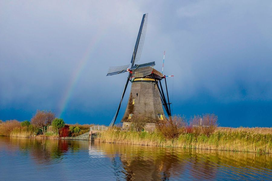 Alternative Energy Windmill Traditional Windmill Sky Lake Rainbow Rayzon