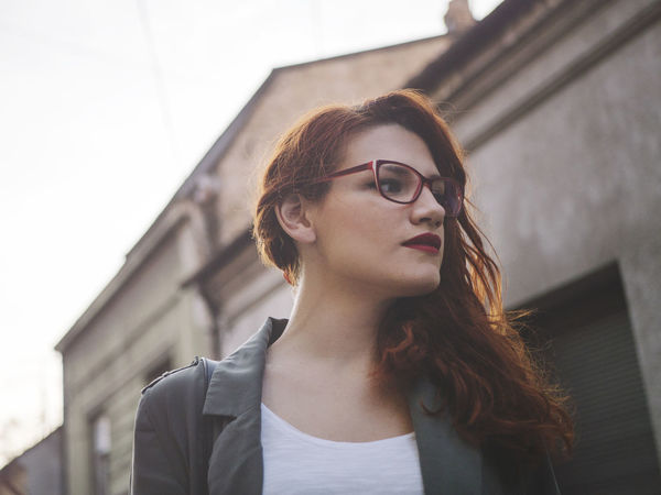 Beautiful European  EyeEm Best Shots Love Red Redhead Romance Rustic Travel Architecture Beautiful Woman Beauty Book Cover Building Exterior Built Structure Day Daylight Europe Eyeglasses  Focus On Foreground Hipster One Person Real People Young Adult Young Women