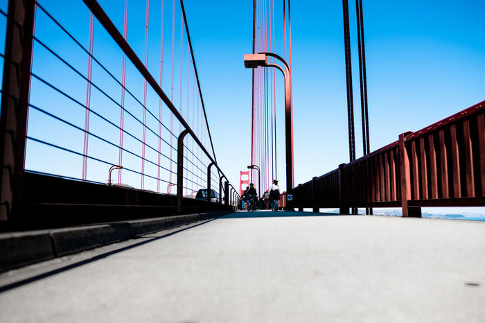 A walk into the blue. Architecture Bridge Building Exterior Built Structure California Clear Sky Day Golden Gate Bridge Outdoors Red And Blue San Fransisco Sky USA Walking