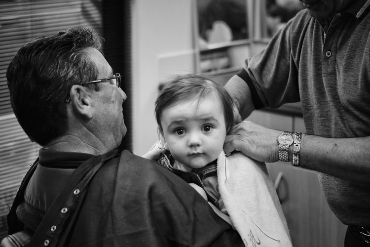 Not sure about having a first hair cut. People Photography Black & White Black And White Photography Black And White Blackandwhite Photography Kidsphotography Kids Being Kids Haircut Hairsalon Hair Salon Showcase June