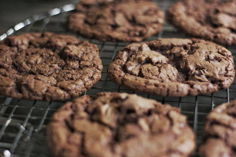Close-up of cookies on metal grate