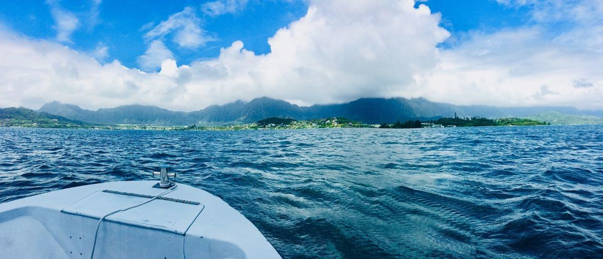 Taking in the views #KaneoheBay Relaxation Bay Kaneohe Water Surface Blessed  Paradise Islandlife 808state Hawaiian Luckywelivehawaii Mountain Range Landscape_Collection EyeEm Selects Water Cloud - Sky Sky Nautical Vessel Sea Beauty In Nature Waterfront Outdoors Mountain