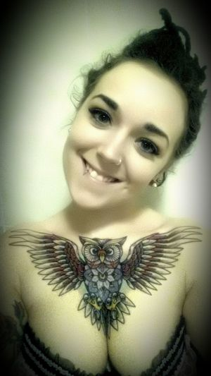my new tattoo by paul tipping Tattoed Girls Chest Tattoo Owl Tattoo