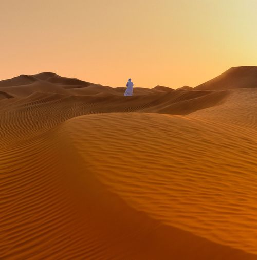 Rear View Of Person Standing In Desert Against Clear Sky During Sunset