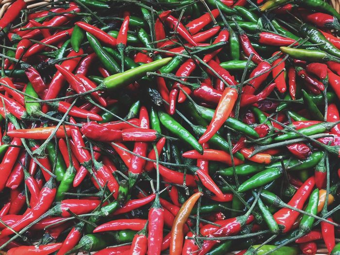 High angle view of chili peppers for sale at market stall