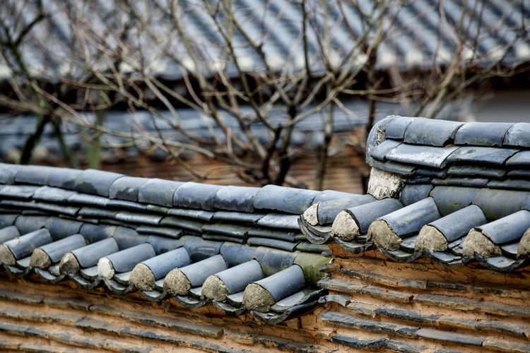 High angle view of roof tiles against house