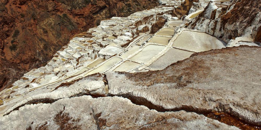 Panoramic view of salt pans at maras