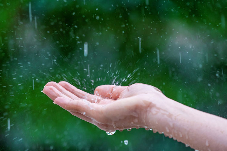 Cropped hand of woman holding water