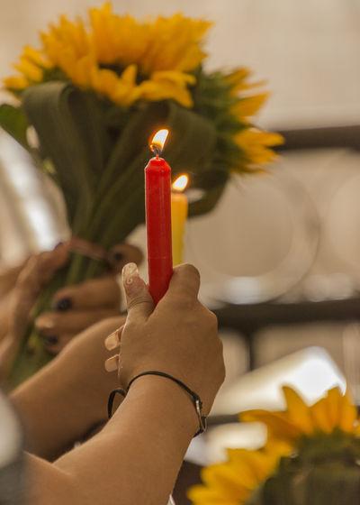 pray Sanctuary  Church Catholicism Pray Praying Human Hand Hand Candle Sunflower Worship Worship Places Havana, Cuba Human Hand Flame Heat - Temperature Burning Candle Candlelight Wax Lit Fire Melting
