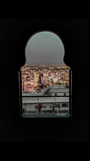 Buildings seen through window