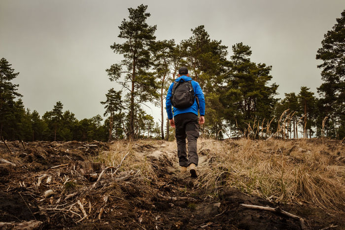Man hiking on an untraveled road Active Adventure Backpack Beauty In Nature Exploring Forest Grass Healthy Lifestyle Hiking Journey Outdoor Clothing Outdoors Rear View Sport Sports Clothing Traveler Trekking Wanderer Wanderlust