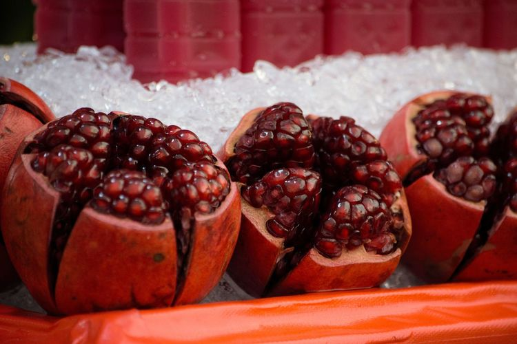 Fresh Pomegranate Fresh Fruits Pomegranate Cut Fruit Deep Red Red Crimson Hungry Yet? Juicy Fruit Fruit Boost Full Of Goodness Natures Gift Food And Drink Food Fruit Indoors  Sweet Food Healthy Eating Freshness Pomegranate Seed Ready-to-eat Day Red Close-up Dessert Retail  No People