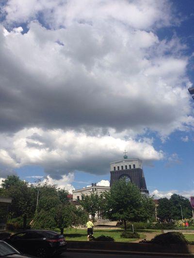 The Church Dramatic Sky Big Sky Namesti Jiriho Z Podebrad Plečnik Clouds And Sky The Street Photographer - 2016 EyeEm Awards The Park Cars Aroud Church Cloudporn Prague Battle Of The Cities