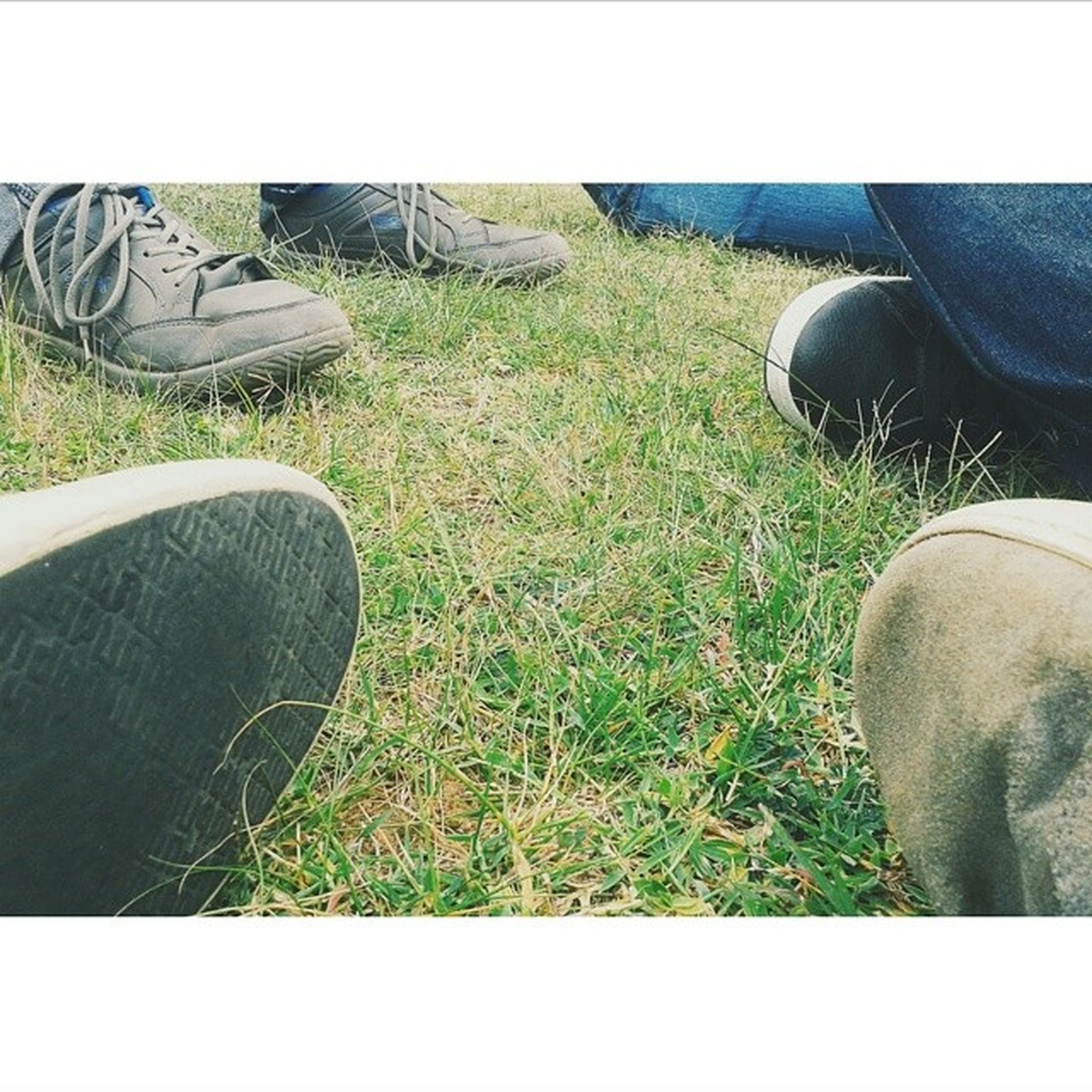 transfer print, low section, grass, shoe, person, auto post production filter, field, grassy, footwear, jeans, men, part of, human foot, lifestyles, personal perspective, high angle view, day