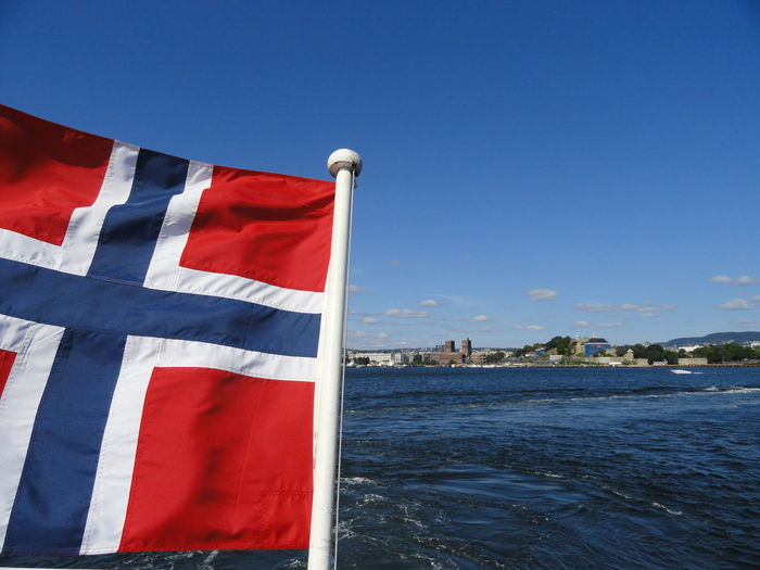 Close-up Of Norwegian Flag In The Wind