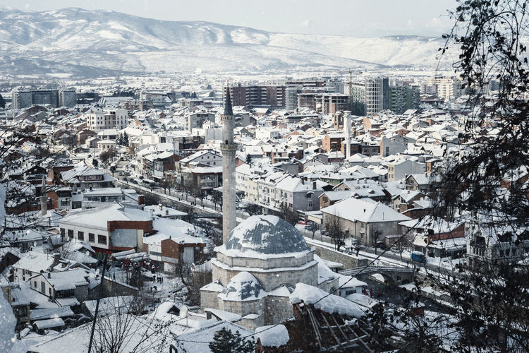 city of prizren, kosovo covered with snow at winter season Balkan Kosovo Architecture Bridge Building Exterior Built Structure City Cityscape High Angle View Kosova Landmark Landscape Mosque Prizren River Snow Winter