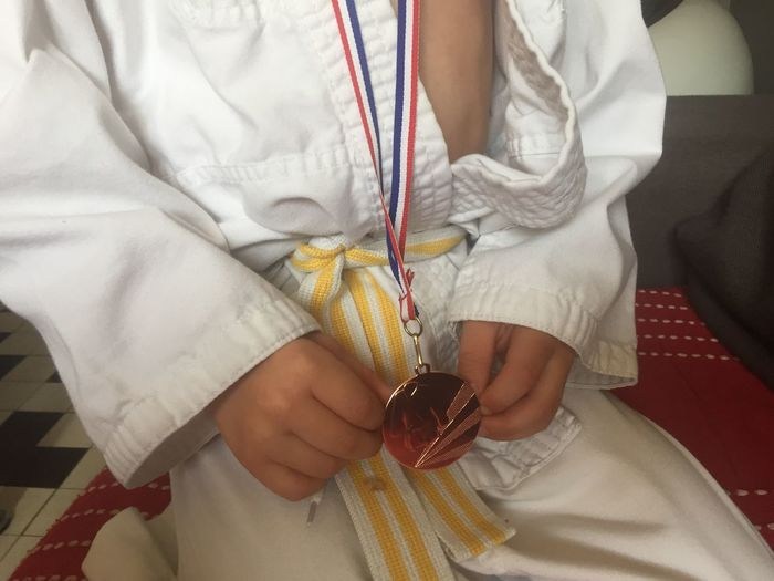 Indoors  High Angle View Real People Human Hand Tying One Person Close-up Day People Judo Judoka Medaille Medal