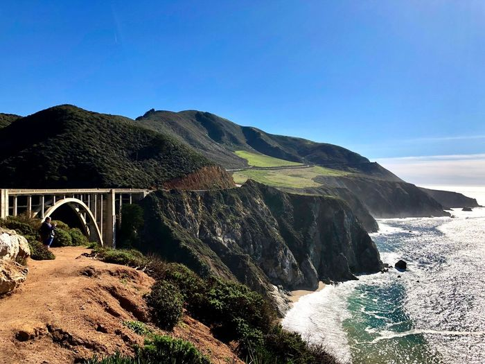 Big Sur Sky Mountain Architecture Nature Built Structure Scenics - Nature Day Tranquility Beauty In Nature Tranquil Scene No People Sunlight Land Plant Clear Sky Blue Arch Connection Bridge Water