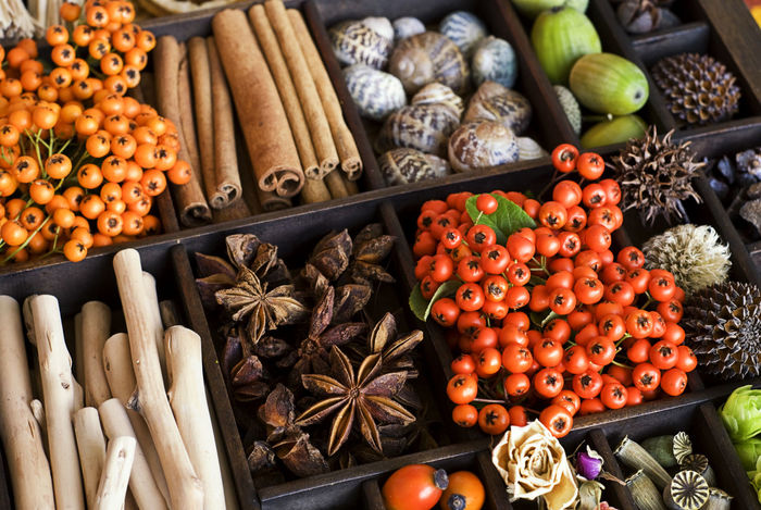 selection of spices and nature materials in a wooden crate Berries Box Nature Snail Shells Anise Cinnamon Sticks Crate Display Large Group Of Objects Nature_collection No People Spice Star Anise Variation