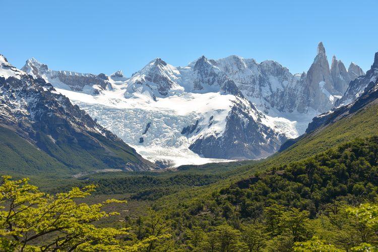 Panorama of patagonia's peaks around cerro torre at los glaciares national park, patagonia