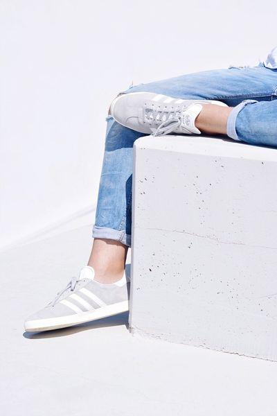 Out Of The Box Jeans Human Leg Casual Clothing Low Section Shoe Human Body Part Sitting Day Outdoors Close-up Adidas Adidasoriginals Gazelle Adidasgazelle Athens Greece White Minimalism Minimal EyeEm Best Shots The Week Of Eyeem
