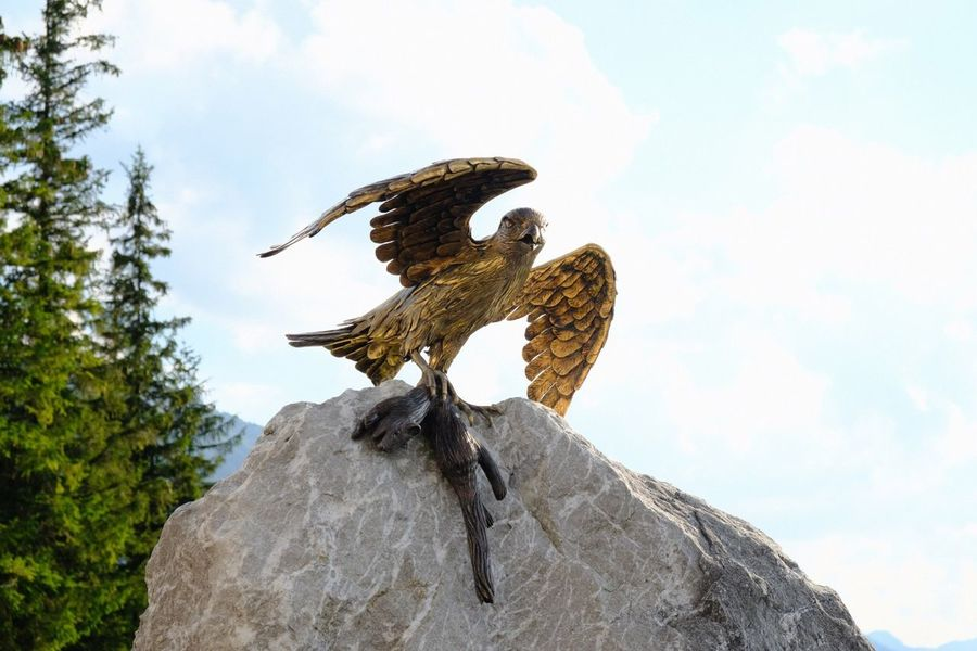 Rock - Object Sculpture Art is Everywhere Sky Low Angle View Representation Art And Craft Bird No People Nature