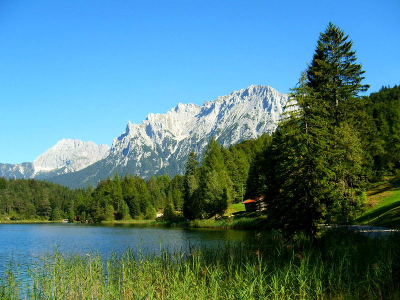 Wunderschöne Natur Beauty In Nature Bergsee Blue Clear Sky Countryside Day Grass Growth Idyllic Lake Landscape Majestic Mittenwald Mountain Mountain Range Nature Non-urban Scene Scenics Season  Sky Snowcapped Mountain Tranquil Scene Tranquility Tree Water