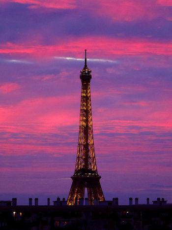 La vie en Rose Eiffel Tower France Paris Pink Tour Eiffel Architecture Beautifulsky Built Structure Cloud - Sky Eiffel_tower  Eiffeltower Frenchphotographer Landscape Loves_france_ Loves_paris OnlyinParis Parisjetaime Photographer Photography Roofofparis Sky Sunset Tall - High Tower Travel Destinations