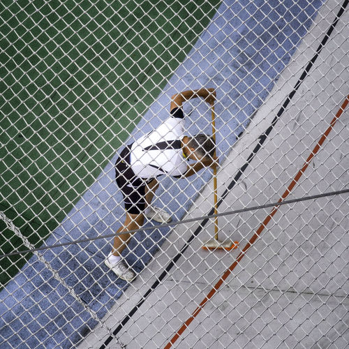 High angle view of man playing in field