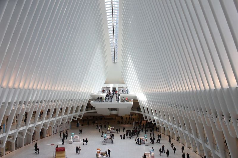 View from inside the Oculus building Interior Oculus NY NYC Large Group Of People Architecture Group Of People Real People Crowd Travel Destinations Built Structure Travel Transportation Tourism High Angle View Men Mode Of Transportation Tourist Day Adult Modern