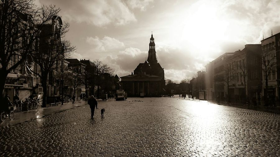 Rule Of Thirds Walking Around, Enjoying The Sun in Springtime. This Is My Town Groningen in Monochrome Sepia with the Aa-kerk Groningen