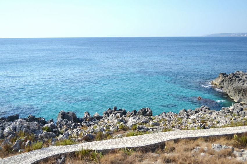 Lecce Puglia Travel Beach Beauty In Nature Blue Castromarina Clear Sky Day Horizon Over Water Nature No People Outdoors Rock - Object Scenics Sea Sea And Sky Sky Summer Tranquil Scene Tranquility Water