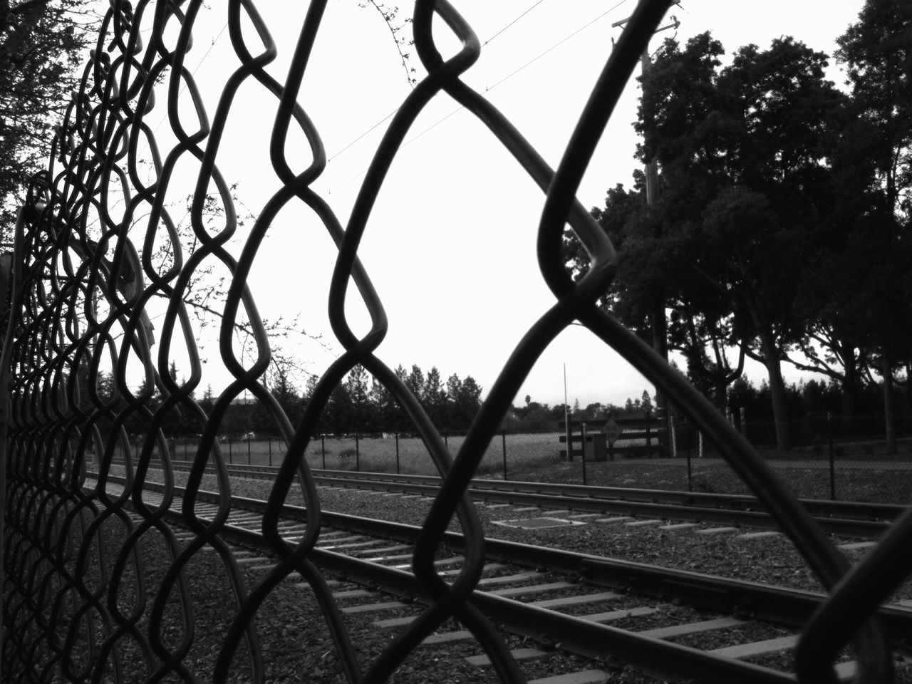 chainlink fence, metal, protection, safety, security, outdoors, no people, day, railroad track, tree, close-up, nature, sky