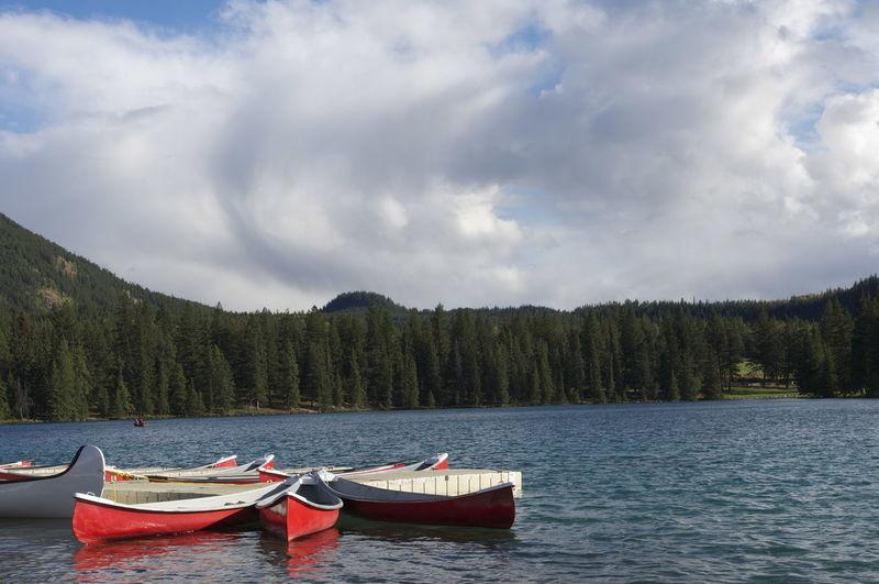 Rowing boats on lake
