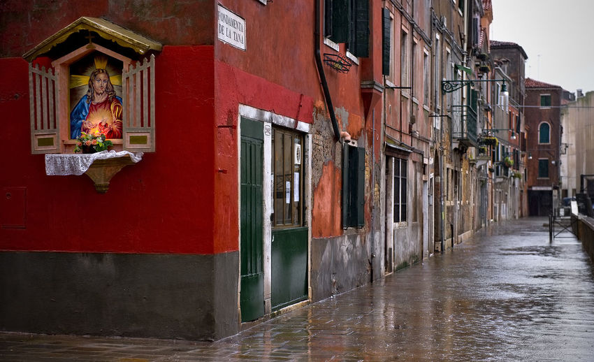 Italy, Venice, Grand Canal, Piazza San Marco, the flood, the Cathedral of San Marco Abandoned Architecture Building Exterior Built Structure Closed Damaged Day Door Entrance Exterior House Leading Narrow Old Perspective Residential Structure The Way Forward Urban Wall Weathered Window