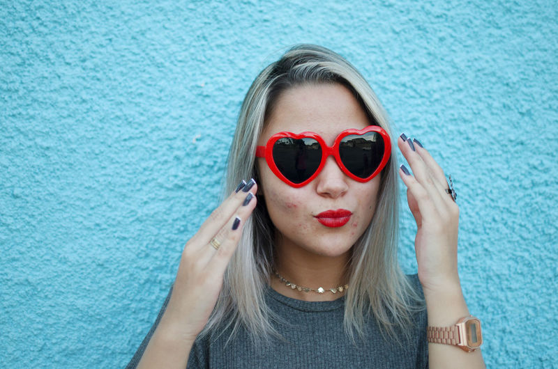 One Person Portrait Hair Front View Lifestyles Beauty Young Adult Glasses Women Headshot Young Women Sunglasses Fashion Beautiful Woman Long Hair Real People Hairstyle Adult Blue Red Heart