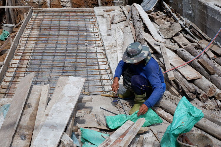 High angle view of man working at construction site
