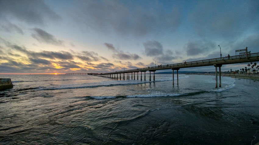 Ocean Beach San Diego Sunset Architectural Column Architecture Beach Beauty In Nature Bridge Bridge - Man Made Structure Built Structure Cloud - Sky Connection Horizon Horizon Over Water Land Long Motion Nature No People Outdoors Pier Scenics - Nature Sea Sky Sunset Water