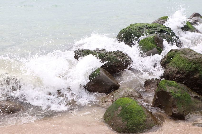 Turmoil on the rocks Water Motion Sea Wave Splashing Surfing Aquatic Sport Nature Beach Beauty In Nature High Angle View Power In Nature Day Land Rock Power Rock - Object Outdoors Breaking