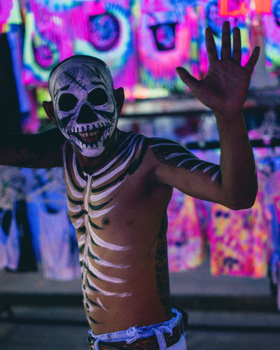 Neon Lights Full moon Neon Neon Lights Skeleton Skull Party Party - Social Event Thailand Thailand_allshots Thailandtravel Celebration Leisure Activity One Person Gesturing Real People Waist Up Disguise Representation Paint Costume Festival Arms Raised Human Arm Waving