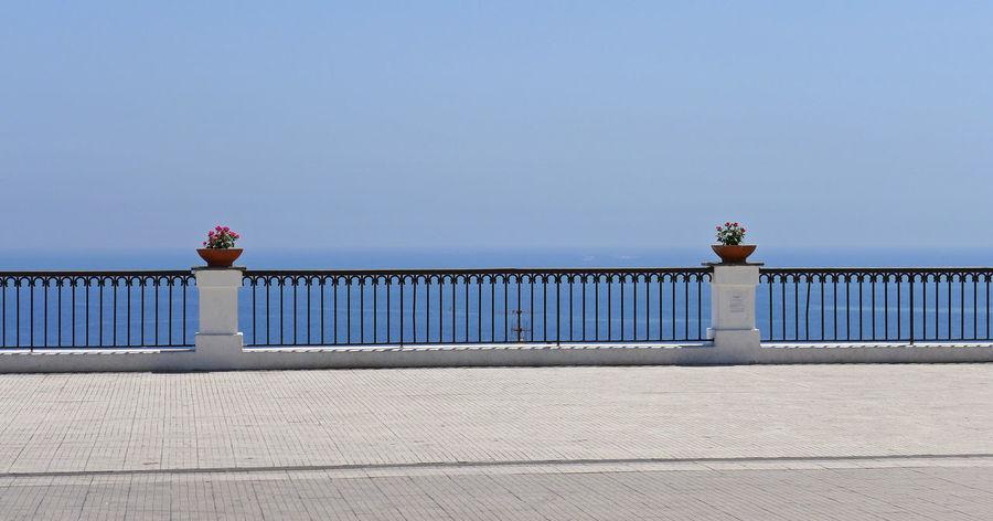 Sicily Architecture Black Railing Blue Sky Horizon Over Water No People Sea Stromboli White Pillars