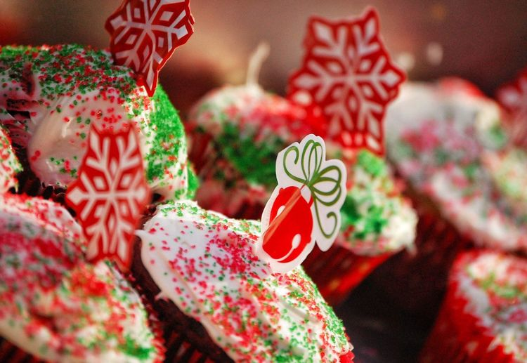 Close-up of christmas cupcakes