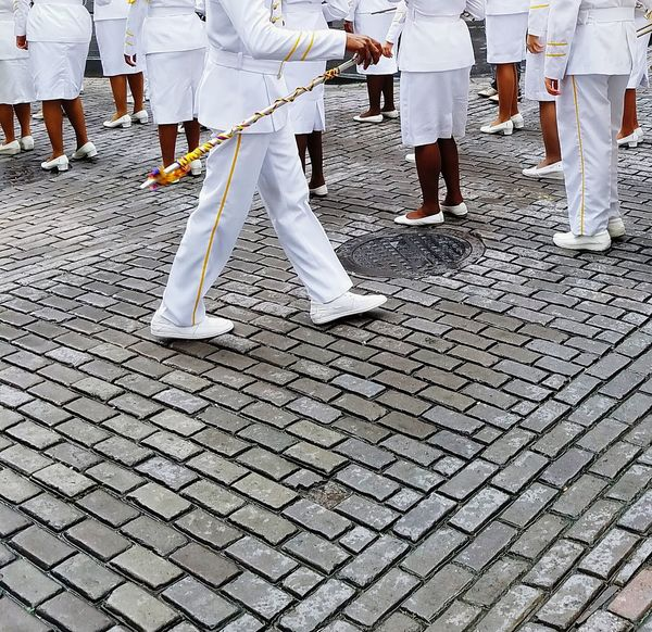 Low Section Real People Human Leg Human Body Part White And Gray Minimalism White Album Perspective Open Edit WhiteCollection Tiles People Watching White Shoes Uniforms Formation The Street Photographer - 2017 EyeEm Awards