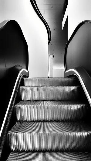Blackandwhite Escalator Curves And Lines Modern Interior Design Shades Of Grey Going Up