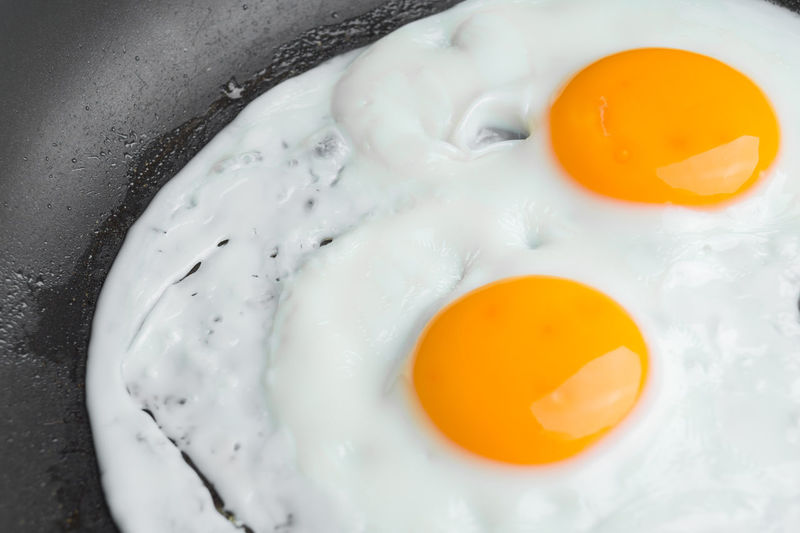 Close-Up Of Fried Eggs In Frying Pan