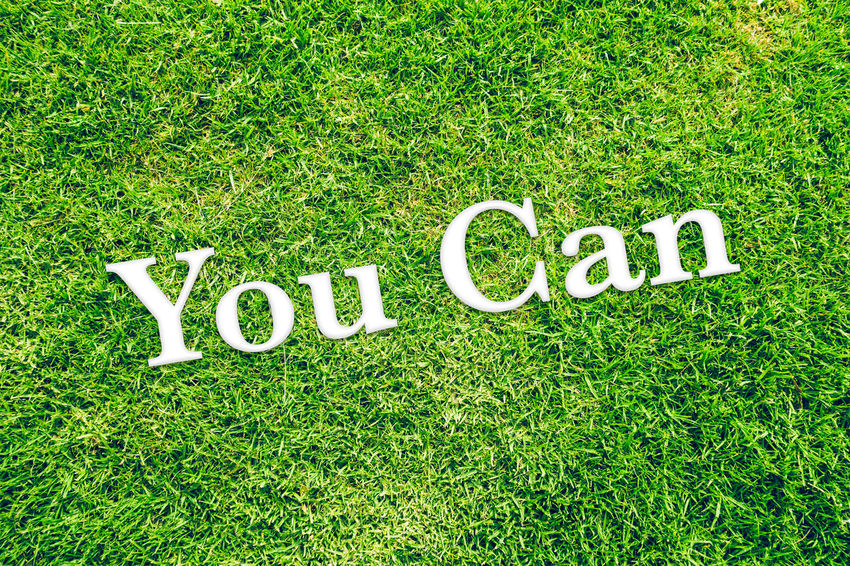 top angle view of green grass with text on it saying you can Belief Believe Capital Letter Communication Day Emotion Field Grass Green Color Growth High Angle View Land Love Message Nature No People Outdoors Plant Positive Emotion Potential  Single Word Text Western Script White Color You Can