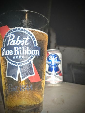 Pabst Blue Ribbon. Beer Glass Pbr Close-up Alcoholic Drink Beer Glass Beverage Colorful